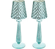 Set of (2) 13 Mercury Glass Accent Lamps with Tealights by Valerie - H215806
