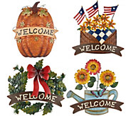 Set of 4 Seasonal Metal Welcome Plaques by Valerie - H216206