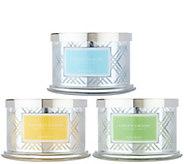 HomeWorx by Harry Slatkin S/3 Deluxe 18 oz 4-Wick Candles - H217506