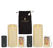 Luminara Set of (2) 4 Candles with Micro Lights, Remote & Bag - H217606