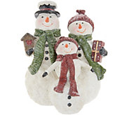 Snowman Family Figurine with Hats & Scarves by Valerie - H216207