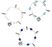 Set of 3 Heart Charm Bracelets with Sheer Bags by Valerie - H217807