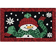Waverly 21 x 33 Black Christmas Snowman Rug by Nourison - H293107