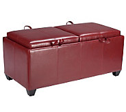 Leather Storage Ottoman in Red Faux Leather byOffice Star - H349707