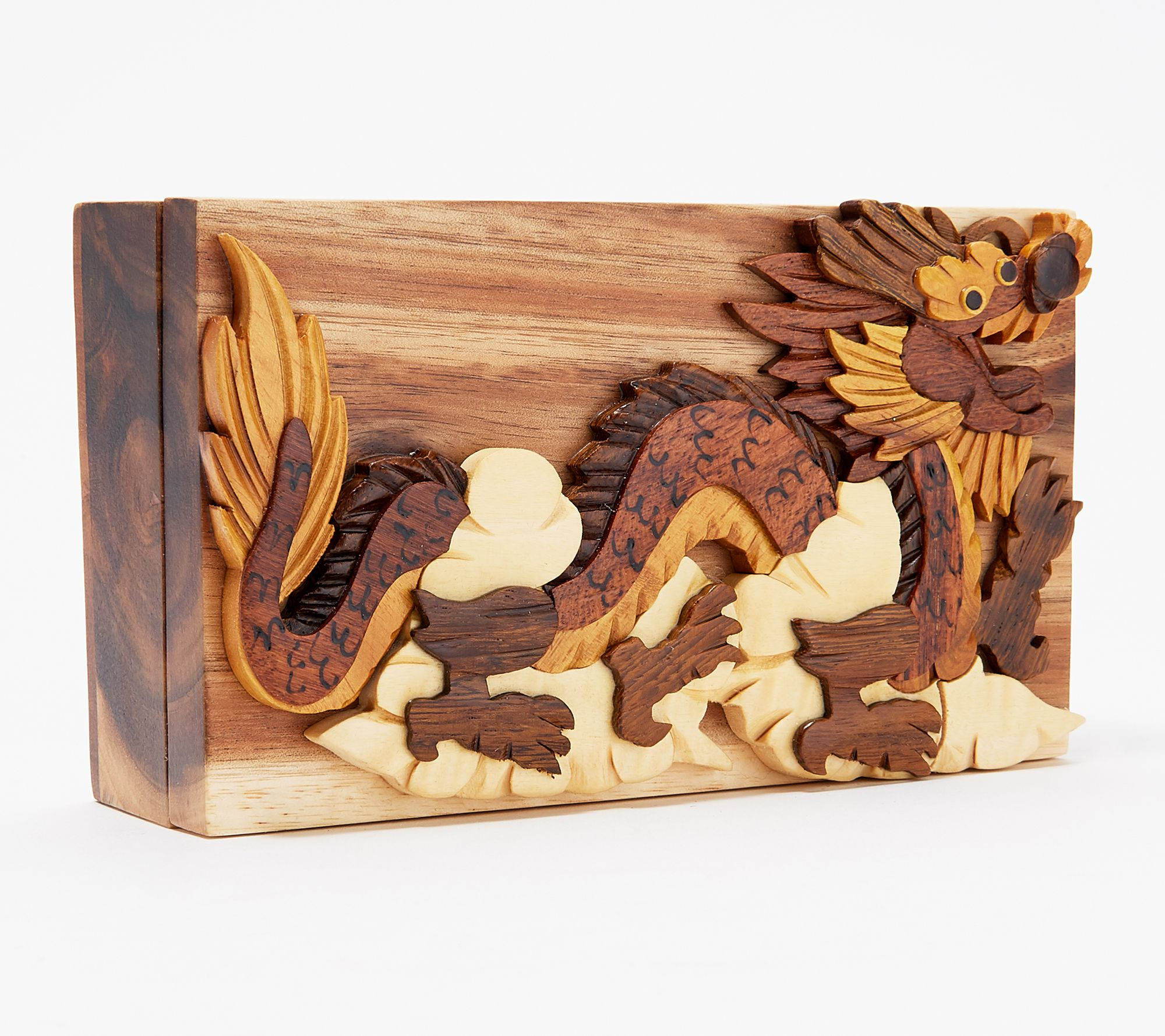 Handcrafted Hardwood Storage Puzzle Box w/ Magnetic Closure — QVC com