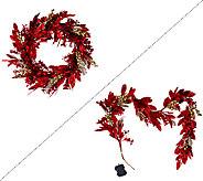 Illuminated Glittered Bay Leaf 24 Wreath or 5 Garland - H206209
