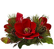Red Magnolia & Pine Candle Holder by Nearly Natural - H301109
