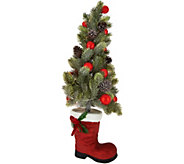 24 Illuminated Tree in Santas Boot with Timer by Valerie - H212010