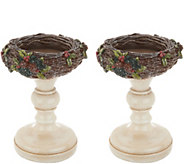 Set of 2 Glistening Bird Nest Pedestals by Valerie - H216310