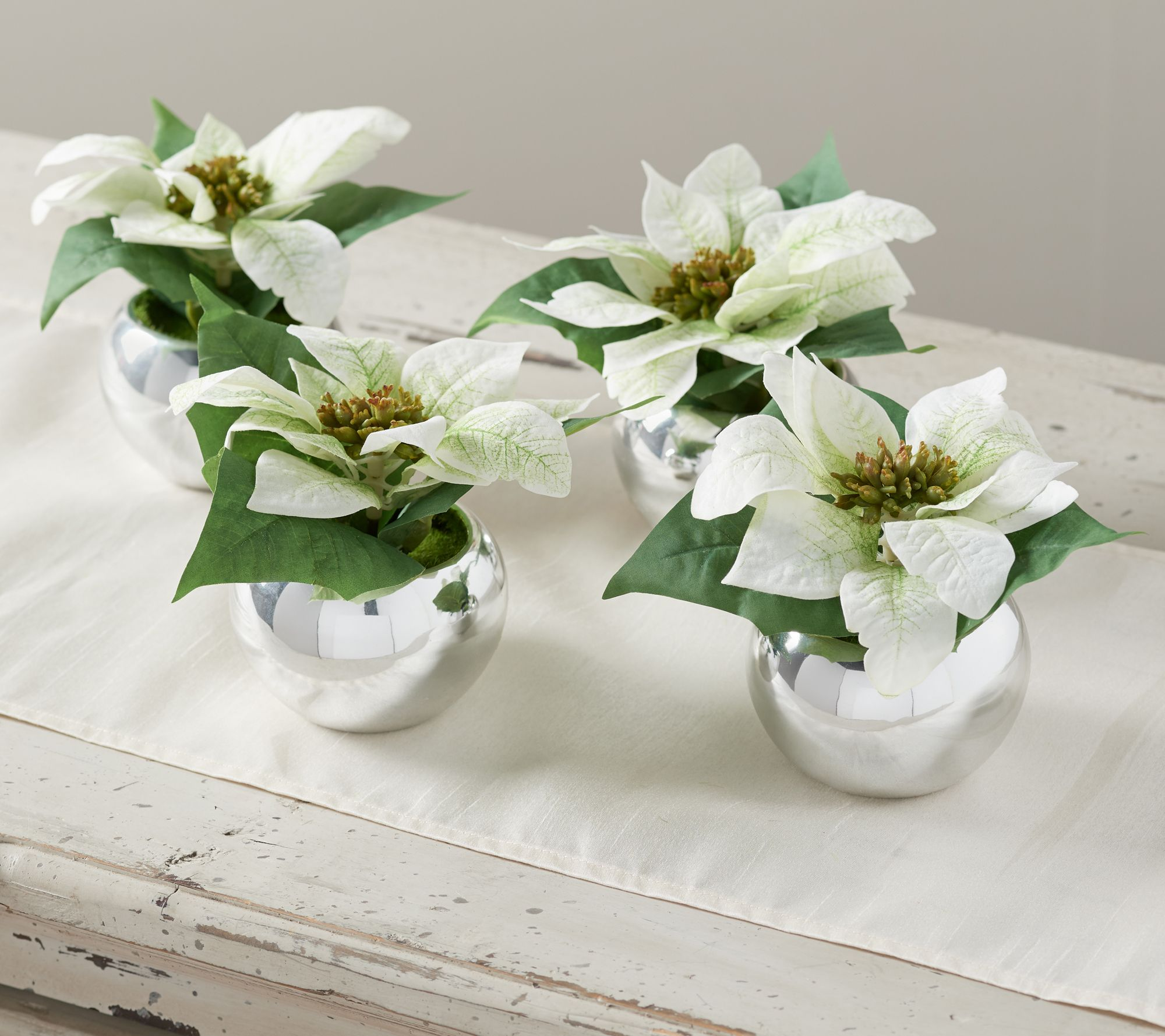 "Set Of (4) 6"" Mini Faux Poinsettia Plants By Valerie by The Valerie Parr Hill Collection"