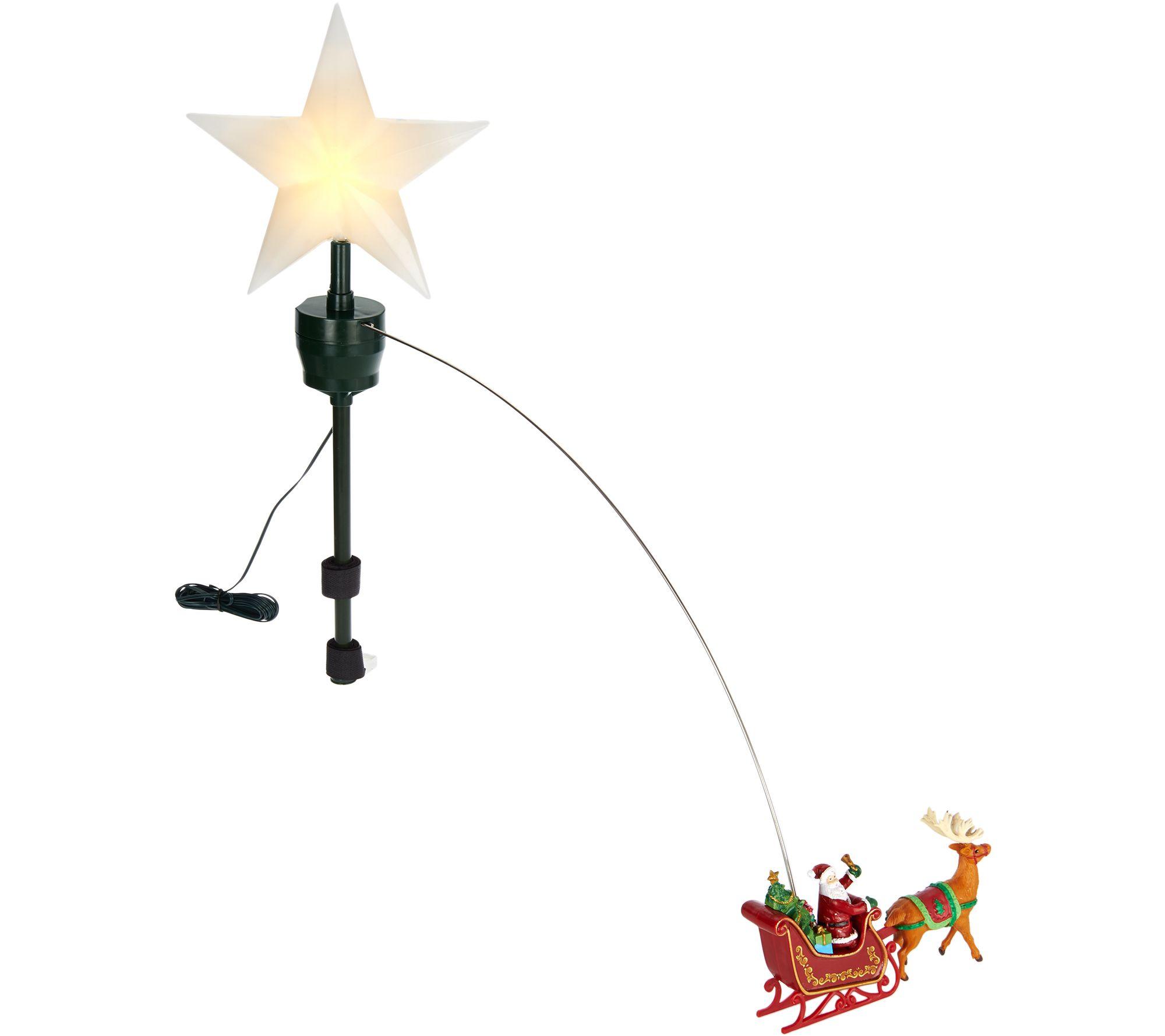 Mr. Christmas Animated Lit Revolving Santa & Sleigh Tree Topper ...