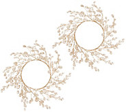 Set of 2 Glittered Jewel Drop Candle Rings by Valerie - H217011
