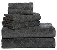 Casa Platino Combed Cotton Jacquard 6-Piece Bath Towel Set - H302611
