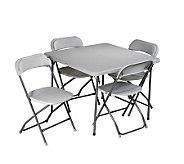 Office Star Light Gray 5 Piece Folding Table &Chair Set - H155012
