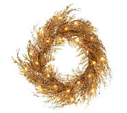 Lit Sparkling Cedar Twig 22 Wreath or 4 Garland - H200712
