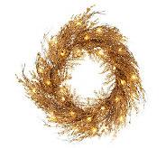 Lit Sparkling Cedar Twig 22 Wreath or 4 Garland - H200712