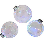 Kringle Express S/3 Graduated Indoor/Outdoor Clear Globes w/ Micro Lights - H212312