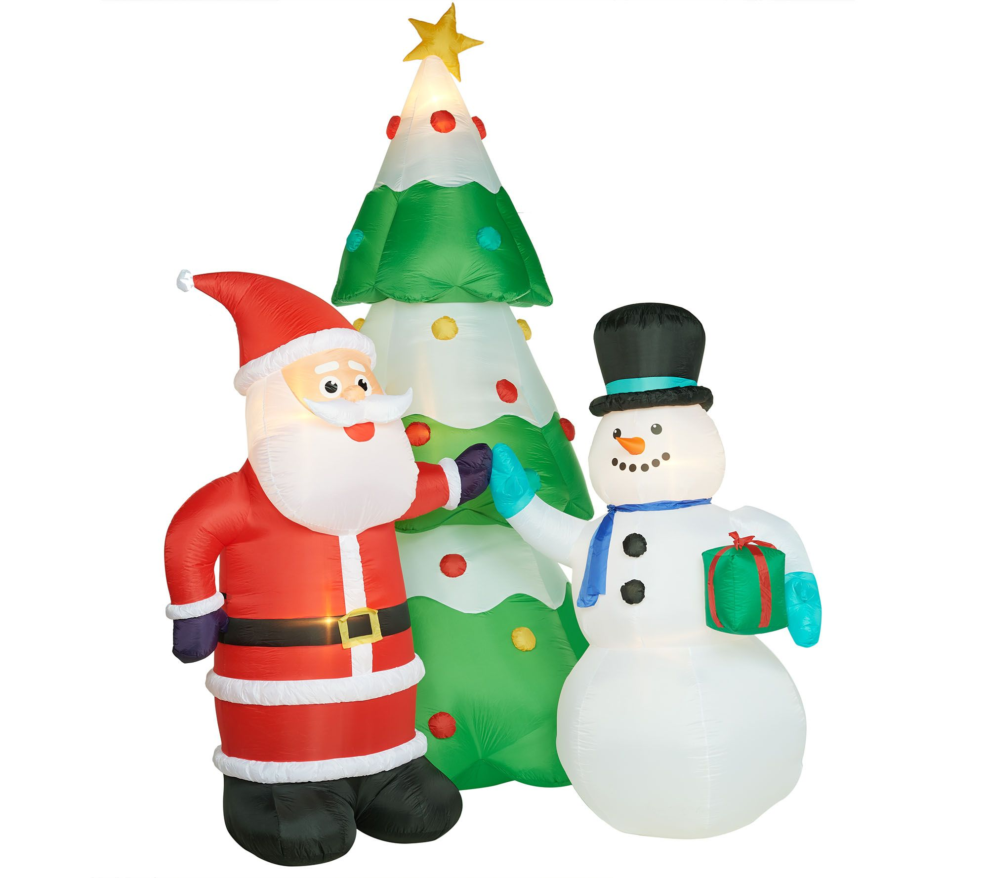 Kringle Express 12\' Illuminated Inflatable with Santa, Snowman and ...
