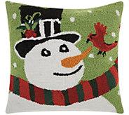 Mina Victory Snowman/Bird Multicolor 18 x 18Throw Pillow - H301612