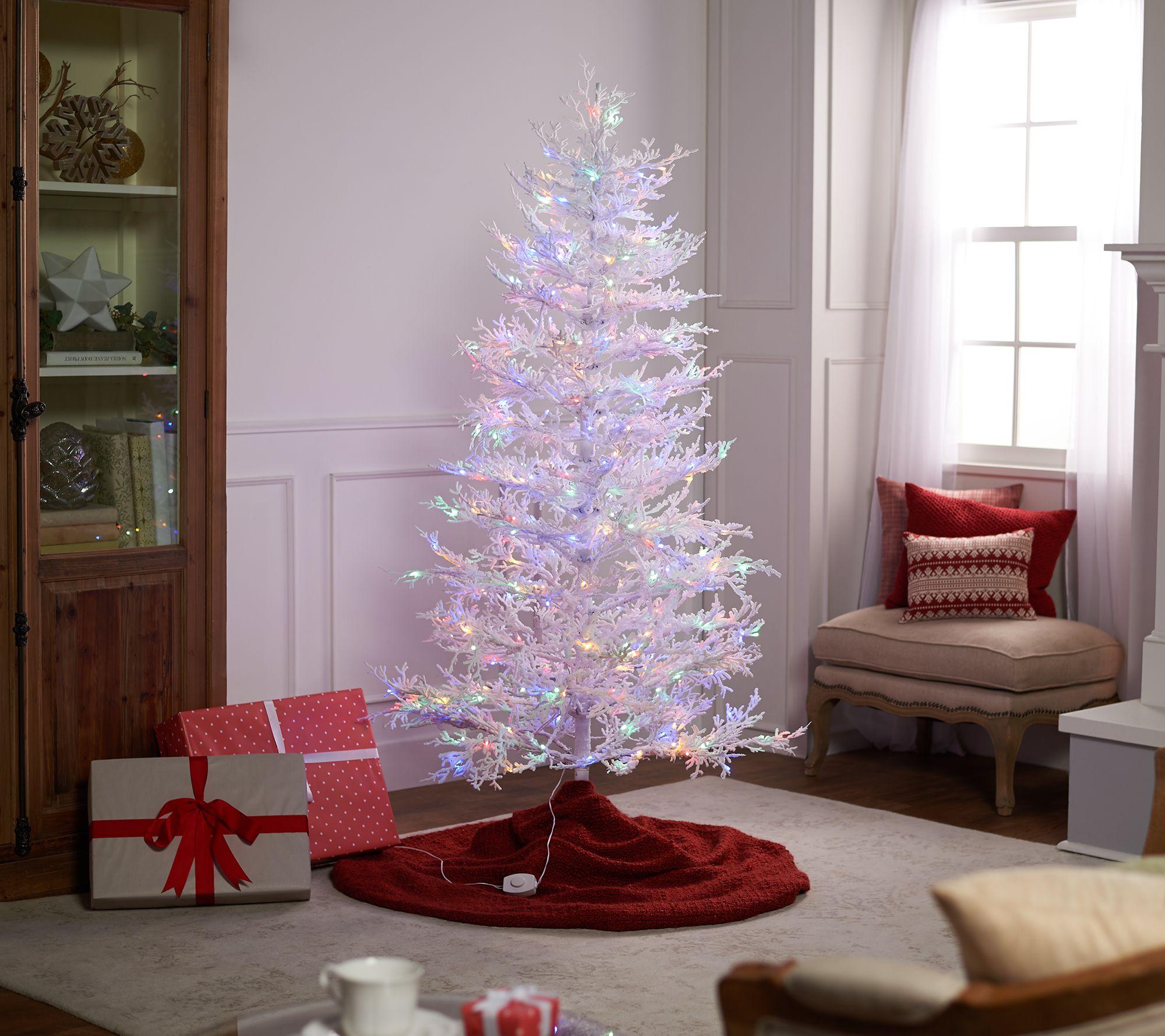 Bethlehem Lights 6 Led Multi Function White Flocked Alpine Tree Qvccom