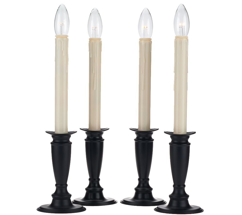 set of 4 window candles with timer by valerie page 1 qvccom - Christmas Candles For Windows