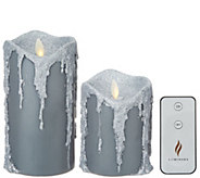 Martha Stewart S/2 Melted Top Wax Dripped Pillar Candles with Remote - H217614