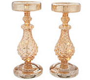 Dennis Basso S/2 10 Lit Mercury Glass Candle Holders with Timer - H213215
