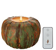 Martha Stewart Harvest Pumpkin Flameless Figural Candle with Remote - H217615