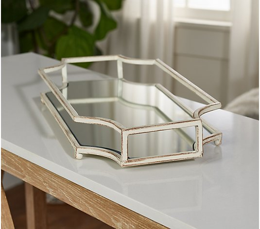 18 Antiqued Decorative Mirrored Metal Tray By Valerie Qvc Com