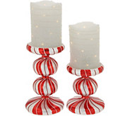 Set of 2 Candle Cane Pedestals with Flameless Candles - H216516