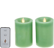 Martha Stewart Set of (2) 4 Flameless Wax Candle Pillars Set - H216616