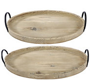 Set of 2 Farmers Market Wooden Trays by Valerie - H298016