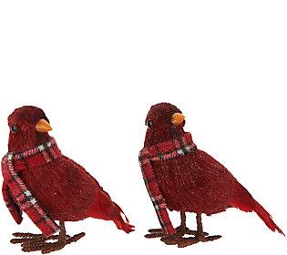 Set of 2 Glittered Cardinals w/ Plaid