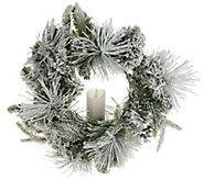 Luminara 15 Flocked Wreath with Pillar Candle - H214017
