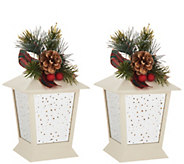 Set of (2) 7 Indoor/Outdoor Lanterns with Embellishment by Valerie - H215017