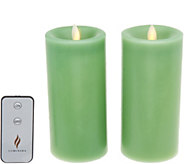 Martha Stewart Set of (2) 6 Flameless Wax Candle Pillars Set - H216617