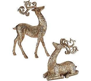 Set of 2 Metallic Antiqued Reindeerby Valerie