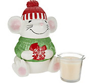HomeWorx by Harry Slatkin Ceramic Mouse with Scented Candle Drop-In - H211418
