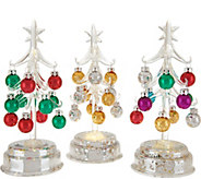 Kringle Express S/3 Glass Trees w/ Mercury Glass Base and Ornaments - H212918