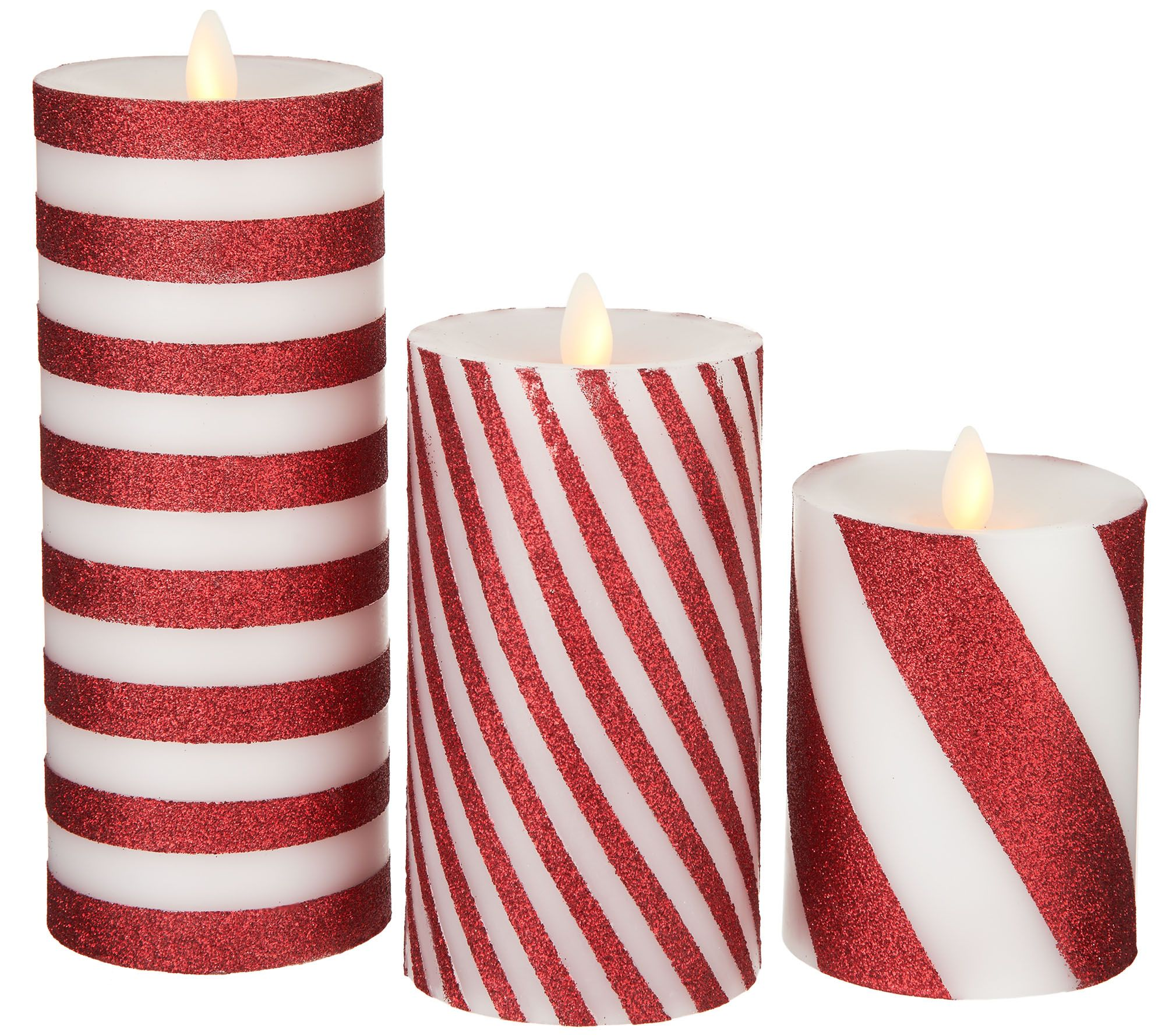 bethlehem lighting. Bethlehem Lights Set Of 3 Glitter Striped Touch Candles - Page 1 \u2014 QVC.com Lighting