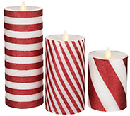 Bethlehem Lights Set of 3 Glitter Striped Touch Candles - H213518