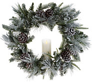 Luminara 23 Flocked Wreath with Pillar Candle - H214018