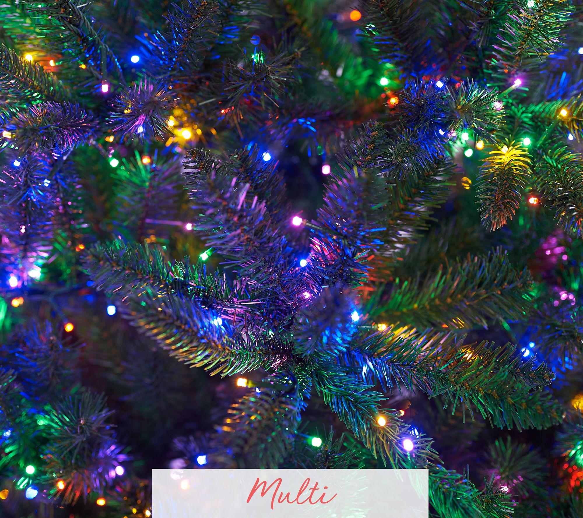 Santas Best Multi Function Green Or Flocked Led Microlight Tree Qvccom