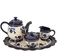Temp-tations Floral Lace Basketweave Tea Set - H215918
