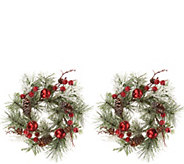 Set of 2 Jingle Bell and Pinecone Candle Rings by Valerie - H216318