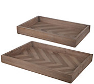 Set of 2 Chevron Wood Trays by Valerie - H298018