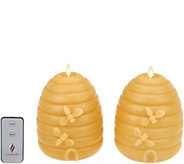 Martha Stewart Set of (2) 7 Flameless Beehive Pillar Candles - H216619