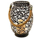 LumaBase Swirl Metal Lantern with Flameless Candle - H302519
