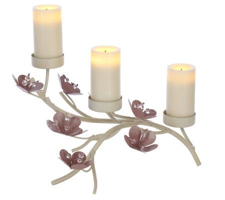 flameless candles with timer candle impressions flower holder w 3 flameless votives 28703