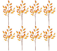 Set of 8 Gilded Autumn Bay Leaf Picks - H206120